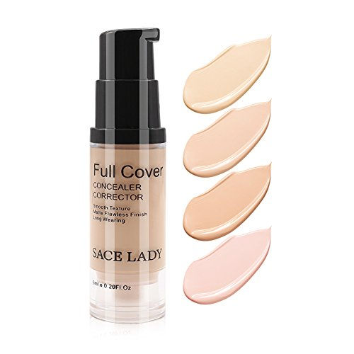Pro Full Cover Flüssig Concealer, Wasserfeste glatte Matte Flawless Finish Cremige Concealer Foundation für Augen Augenringe Spot Face Concealer Make-up, Größe: 6ml / 0.20Fl Oz (04.Warm Natural)