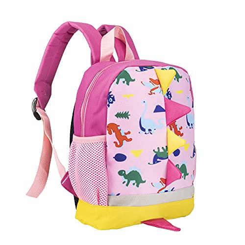 BAIGIO Kinderrucksack Kinder Mini Schultasche Dinosaurier Kindergartentasche für Jungen Mädchen Kleinkind (Rosa)