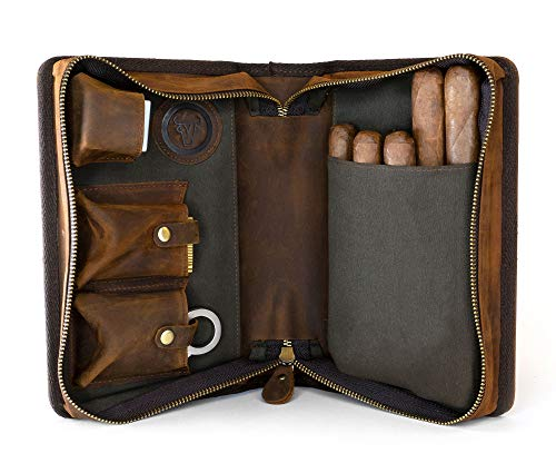 Wall St Smoker, Grand Genuine Leather Portable Travel Cigar Case, Holds 8-10 Double Gordo Cigars