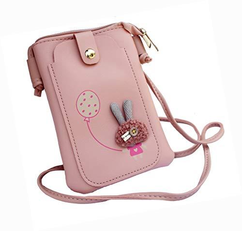 Alexvyan Side Mobile Bag 2 Pocket Cute stylish latest cross body bag Shoulder Bag for women girls Ladies Best Trending gift for sister, mobile bag (Pink) (Pink Mobile Bag)