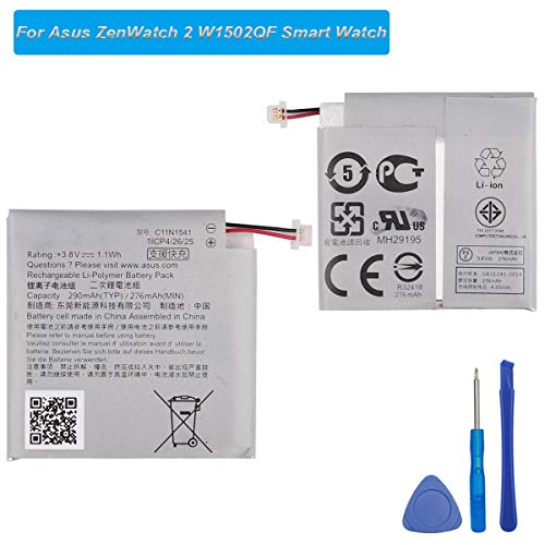 E-yiiviil reserveaccu C11N1541 compatibel met Asus Zenwatch2 WI502Q Smartwatch 1ICP4/26/25 290 mAh met tools