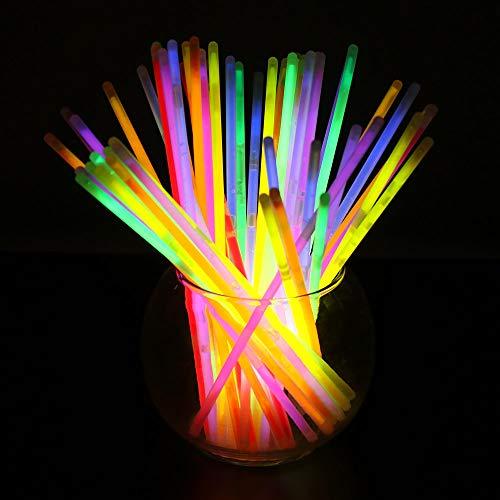 DeeCozy 100 pulseras luminosas con conectores, brillo para crear pulseras fluorescentes, collares, pulseras Light Stick para fiestas Carnaval, Halloween