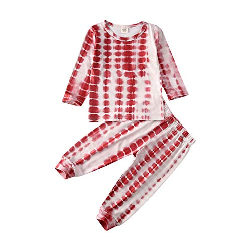 Toddler Baby Boy Girl Pajamas Set Tie Dye Long Sleeve T-Shirt Tops Pants Outfit 2 Piece Pjs Sleepwear Nightwear Clothes Set Red