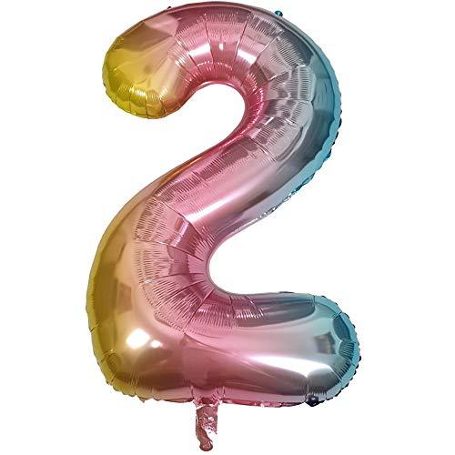 DIWULI, gigantescos Globos de número XXL, número 2, Globos iridiscentes de Arco Iris, Globos de número, Globos de Papel de Aluminio número no años, Globos de Papel de Aluminio para el 2º cumpleaños