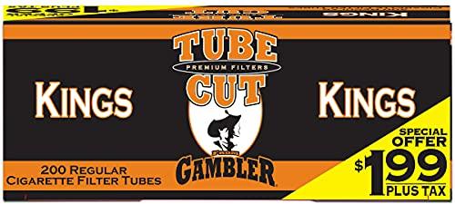 Gambler TubeCut Regular King Size Pre-Priced RYO Cigarette Tubes 200ct Box (5 Boxes)