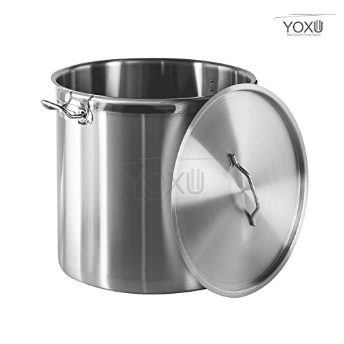 YOXU Pentola Con Coperchio Acciaio Inox 18/10 Cucina Catering Ristorante Aisi 304 (Diametro 25 Cm Altezza 25 Cm Volume 12,2 Litri)