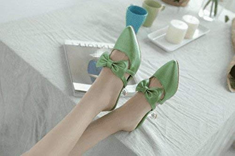 HhGold Sommer Frauen Flip Flops Baotou Fliege Half Drag Fein mit mittlerer Ferse (Farbe   Grün, Gre   7 US 37.5 EU 4.5 UK)