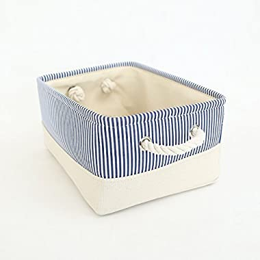 TheWarmHome Fabric Storage Basket for Toys Basket,Blue Strip(15.7×11.8×8.3inch)
