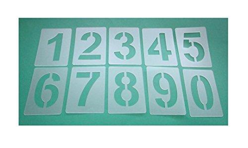 Zahlenschablone Nr.04 | Zahlenhöhe 15cm | 1 Satz Zahlen 0-9 | 10 einzelne Schablonen | Malerschablone | Wandschablone