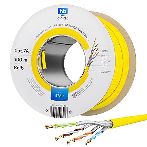 HB-DIGITAL 100m CAT.7a Netzwerkkabel LAN Kabel Verlegekabel AWG 23 Reines Kupfer S/FTP PiMF LSZH Halogenfrei RoHS-Compliant Ethernet Installationskabel Datenkabel PoE 10Gbit/s max. 1200MHz Gelb