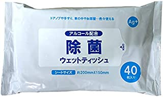 アルコール配合 除菌ウェットティッシュ 銀イオン配合(Ag+) 40枚入 除菌シート 無香料 ウィルス対策 ウェッティ