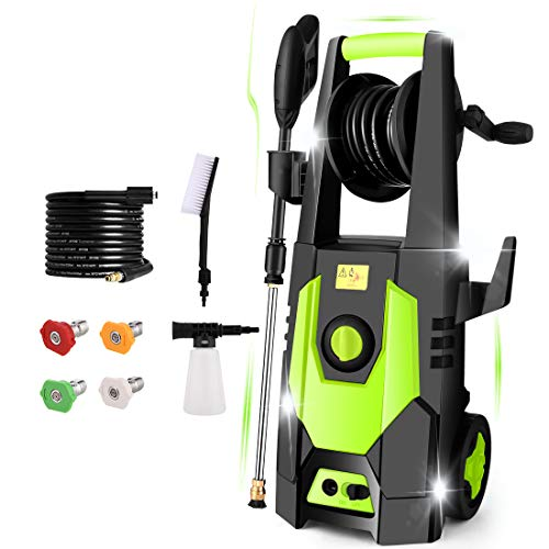 mrliance 3600PSI Electric Pressure Washer 2.4GPM Power Washer 1800W High Pressure Washer Cleaner Machine with 4 Interchangeable Nozzle & Hose Reel, Best for Cleaning Patio, Garden,Yard,Vehicle (Green)