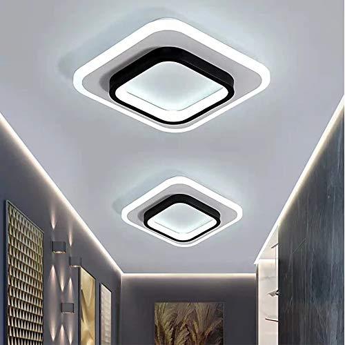 WUIO LED-plafondlamp, inbouwlamp, rond, zwart, acryl, 2 lampen à 24 cm, voor slaapkamer, bijkeuken, kast, veranda, 2 kleurtemperaturen in een (3000K/6000K)