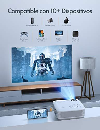 Proyector, APEMAN Mini Proyector Portátil en Casa, Soporte HD 1080P, 3800 Lúmenes, Pantalla Grande, Altavoces Duales, 50000 Horas Vida, Compatible con TV Stick, PS4 (Cable HDMI / RCA Incluido)