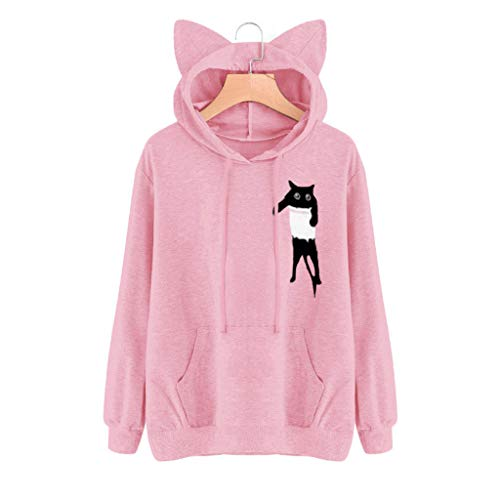 Buy Bargain ✿HebeTop✿ Women Girl Hoodies Cute Cat Ear Novelty Printed Pullover Sweatshirt Pink