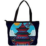 Xingruyun Handtasche Mode Damen Einkaufstasche Twill Stoff All-Match Damen Handtaschen Umhängetaschen für Damen Pavillon 30x10.5x39cm