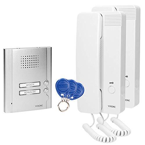 Virone MALO - Interfono doble para montaje empotrado (4 cables, 230 V CA, retroiluminación)
