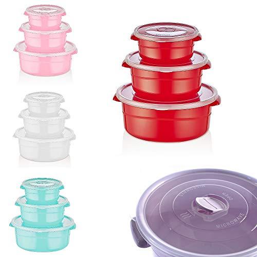 6 tlg. Mikrowellengeschirr mit Deckel, Mikrowellen Schüssel, Geschirr, Dosen, Küchenhelfer Set - Rund 0,5/1/ 2 Liter