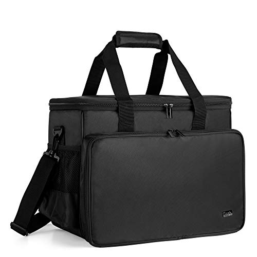 Luxja Sewing Machine Carrying Bag with Removable Padding Pad, Tote Bag for Sewing Machine and Extra Sewing Accessories, Black