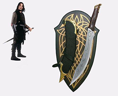 Articolo di ottima fattura. Lughezza 53 cm. Ideale per cosplay, collezionismo, arredamento. Pannello espositivo da parete incluso. Con fodero.