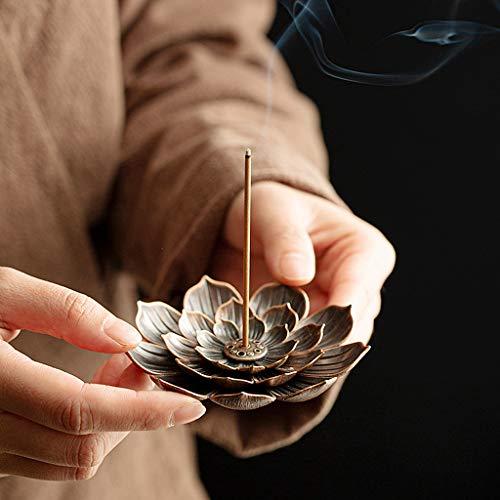Ouceanwin 2 Stücke Räucherschale Lotus Set, Räucherstäbchen Halter Zink Legierung Lotus Ash Catcher, Vintage Lotus Räuchergefäß Platte Räucherstäbchenhalter für Räucherstäbchen Räucherkegel
