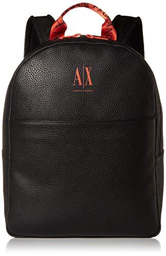 Armani Exchange Herren Ax Logo Backpack with Tophandle Rucksack, Schwarz/Orange, O/S