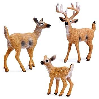 RESTCLOUD Deer Figurines Cake Toppers Deer Toys Figure Small Woodland Animals Set of 3