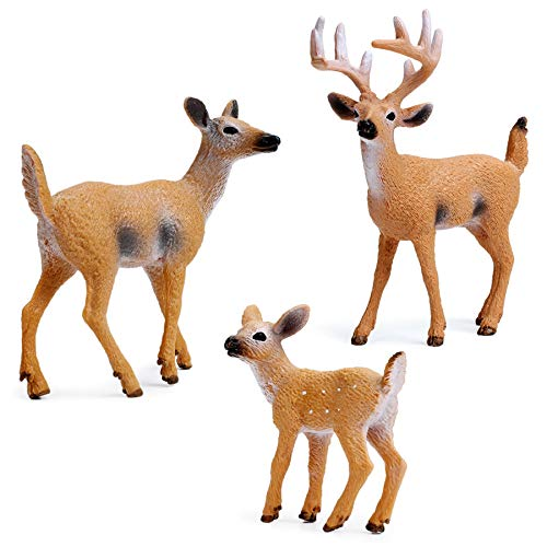RESTCLOUD Deer Figurines Cake Toppers, Deer Toys Figure, Small Woodland Animals Set of 3
