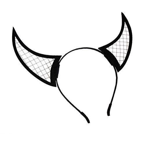Lurrose vrouwen meisjes Devils hoorns hoofdband Evil Halloween haarband kostuum haarband party hoofdwear accessoires (zwart)