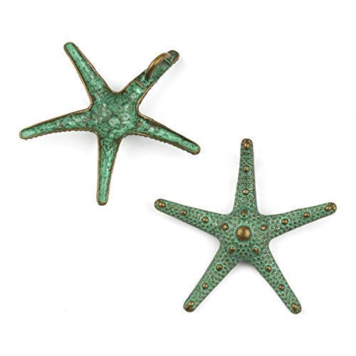 Cherry Blossom Beads 35x37mm Blue/Green Bronze Colored Pewter Large Starfish Charm - 10 Per Bag