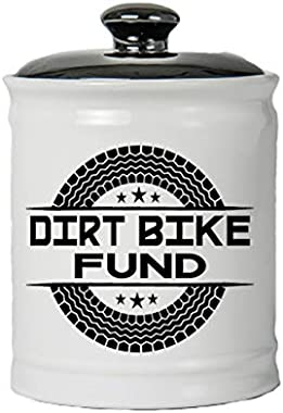 Cottage Creek Round Decorative Ceramic Dirt Bike Fund Jar/Dirt Bike Fund Piggy Bank Motorcross Gifts [White]