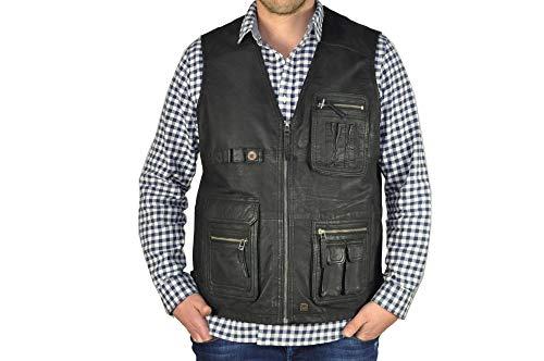 Redpoint - Herren Leder-Weste mit vielen Taschen, (Artikel Hunter), Größe:60, Farbe:Brown