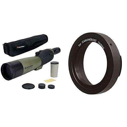Celestron – Ultima 80 Straight Spotting Scope – 20 to 60x80mm Zoom Eyepiece – Soft Carrying Case & 93419 T-Ring for 35 mm Canon EOS Camera (Black)