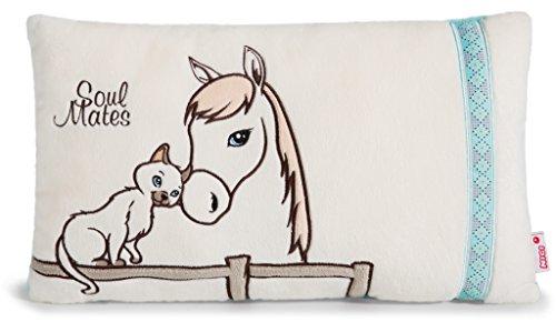 NICI 41387 Soulmates Kissen Pferd Cloudhopper und Katze, rechteckig, 43 x 25 cm
