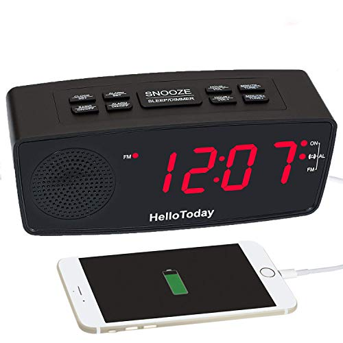 Digital-Radiowecker mit FM-Radio,Dimmer-LED-Display, USB-Ladeports, Snooze, Sleep-Timer