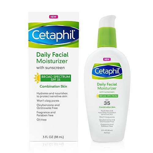Cetaphil Daily Oil-free Facial Moisturizer With Sunscreen Spf 35 for Sensitive, Combination Skin, 3 ounces