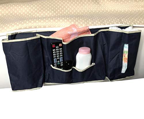 57x26x7cm Betttasche | Sofa Aufbewahrungstasche | Bedside Caddy mit 5 Fächern | Nachttisch Stoff Tasche für Zeitschriften Fernbedienung Windeln Tabletts | Bettablage zum Einhängen | Farbe schwarz