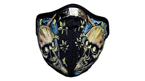 kenai dark Motorrad Neopren Maske Totenköpfe mit Feinstaubfilter, Biker Mask Skulls, Winddicht Staubdicht