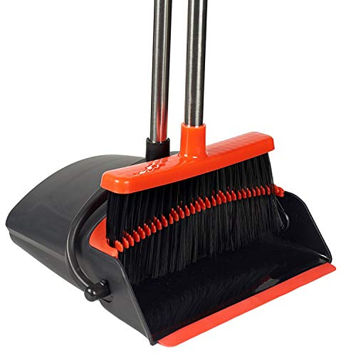 Broom and Dustpan Set Upright by Epikliving -EASY TO USE- Standing Dustpan with Long Handle Extendable -Self Cleaning Broom with Soft Bristles for Clean Sweep- Great for Home Kitchen Lobby or Outdoors
