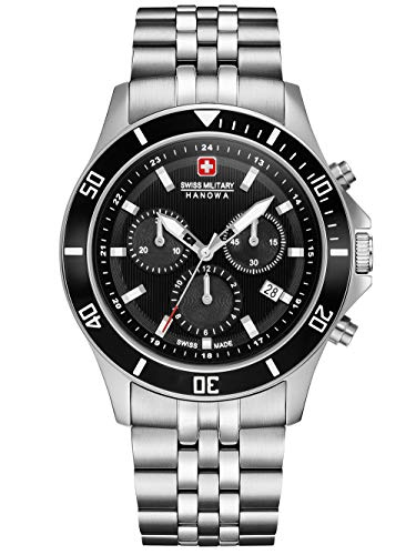 Swiss Military Hanowa Unisex Erwachsene Analog Quarz Uhr mit Edelstahl Armband 06-5331.04.007