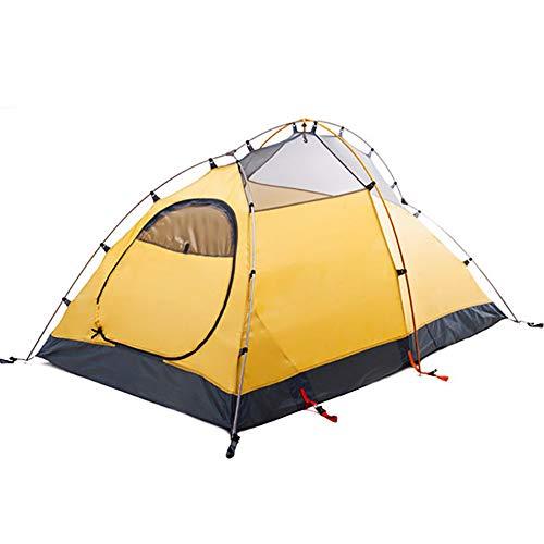 2-3 Personen Camping Zelt, Regendicht Double Layer Family Outdoor Instant Cabin Zelt, 4-Jahreszeiten-Portable Sun Shelter FüR Bergsteigen Wandern Travel Rainfly-Yellow