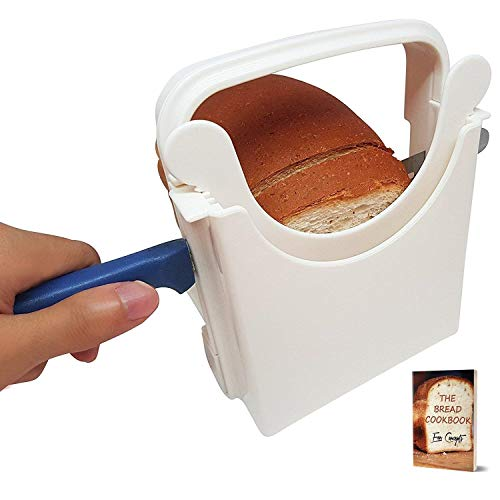 Eon Concepts Bread Slicer Guide For Homemade Bread With Rubber Feet Paddings and E-book | Loaf Cutter Machine - Foldable Adjustable & Customizable to 5 Thickness | Bagel/Sandwich/Toast Slicer |