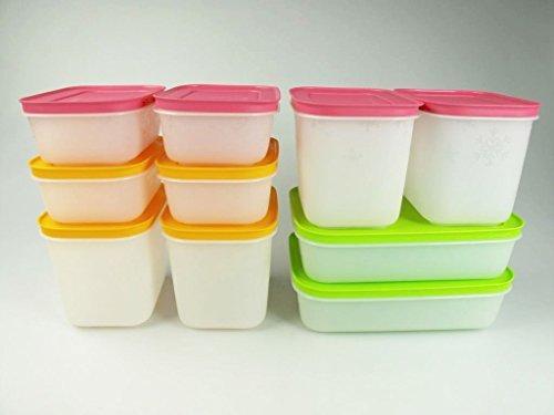 TUPPERWARE Gefrier-Behälter Eiskristall 1,1L pink + 1,0L grün + 450 ml Eis-Kristall 29495