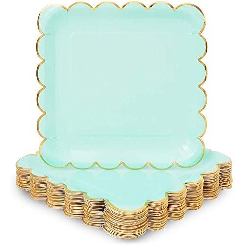 Mint Green Square Paper Plates, Gold Foil Scalloped Edge (22.9 cm, 48 Pack)