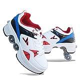 Niños Zapatos Kick Rollers,Retráctil Patines Cuádruples,Multi-Funcional Ajustable Zapatos con Ruedas,Patines En Línea Deportes Al Aire Libre Mujeres's-C 36