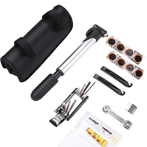 Kit Herramientas Bicicleta,Reparación de pinchazos Bicicleta, 210 PSI Mini Pump, Multi-Herramienta 16 en 1, Palancas de neumáticos y 8 Parches,1 Bolso portátil