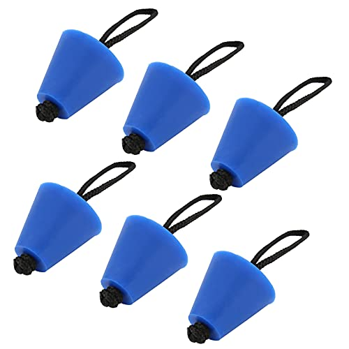 Youtai Juego de 6 tapones universales para kayak, con cuerda de arrastre, canoa, barco, casco de barco, tapón de drenaje, color azul
