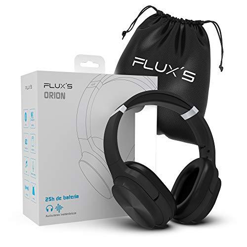 Auriculares Bluetooth de Diadema Flux'S, Cascos Bluetooth 5.0 Inalámbricos, Alta fidelidad, Plegables, Micrófono Incorporado, Micro SD y Radio FM, para iPhone/Android/Samsung/Tablet/TV (Negro)
