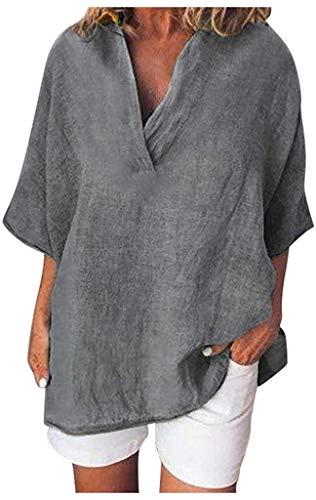 POINWER Frauen Casual Solid Kurzarm V-Ausschnitt Baumwolle Leinen Shirts Tops Sommer Freizeit Loose Comfy Tunika Tops T-Shirt Blusen (Farbe : Dark Gray, Größe : XL)