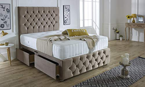 ComfoRest, Bedding & Upholstery Innovation Leader Mink Plush Velvet Ibex Plus Divan Set With 54' Ibex Headboard, Vertical Line Memory Spring Mattress And 2 Drawers (4FT - Small Double)